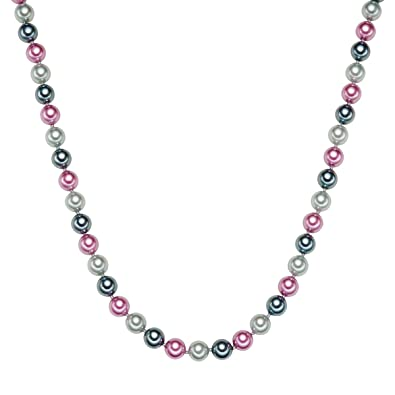 39a1b14e7c73 Rafaela Donata - Collar de Perlas Perla Gris Antracita Rosa Plata de Ley - Perlas  Cadena Collar de Perlas Cadena Plata  Amazon.es  Joyería