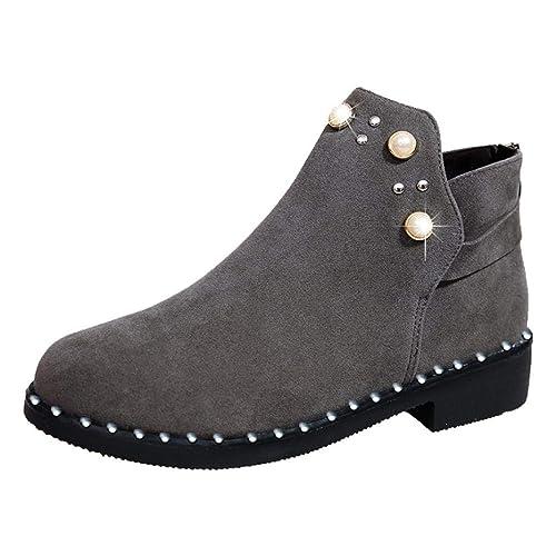 Zapatos Mujer,Botas de Mujer Vintage Botas de Perlas de tacón de botín de Gamuza Plana Botines de Cremallera: Amazon.es: Zapatos y complementos