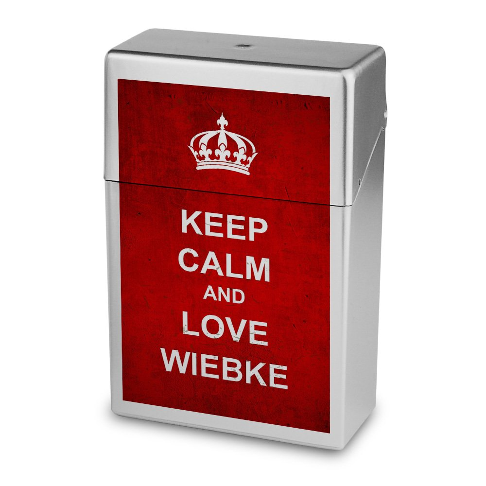 Zigarettenbox mit Namen Wiebke - Personalisierte Hü lle mit Design Keep Calm - Zigarettenetui, Zigarettenschachtel, Kunststoffbox