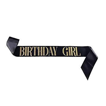 Dadam Birthday Sash for Girls Black Satin Birthday Girl Sash with Gold  Glitter Lettering Party Favors, Supplies