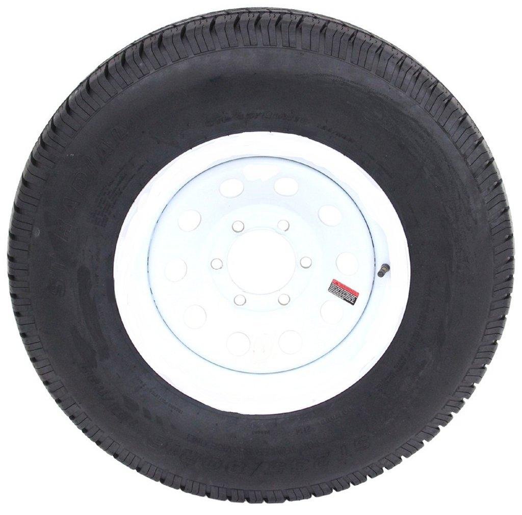 ST225/75R15 Trailer Tire Load Range E on 15 White Spoke 6 Bolt Trailer Wheel Allied Wheel Components