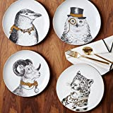 XDOBO Fine Bone China Appetizer Salad/ Dessert Plates (Set of 4), 8'', Multi-patterns (4)