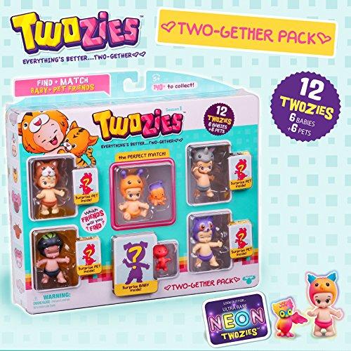 Twozies AmiAmis – Coffret 12 Twozies – 6 Bébés + 6 Animaux – Modèle Aléatoire