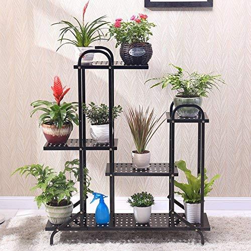 ガーデンフラワーポットラックホームフラワースタンド耐久性のある植物ラック ヨーロッパ式の鉄の花の棚、多階の床様式の屋内および屋外のバルコニーの植木鉢の棚、 B07PBVXZHG