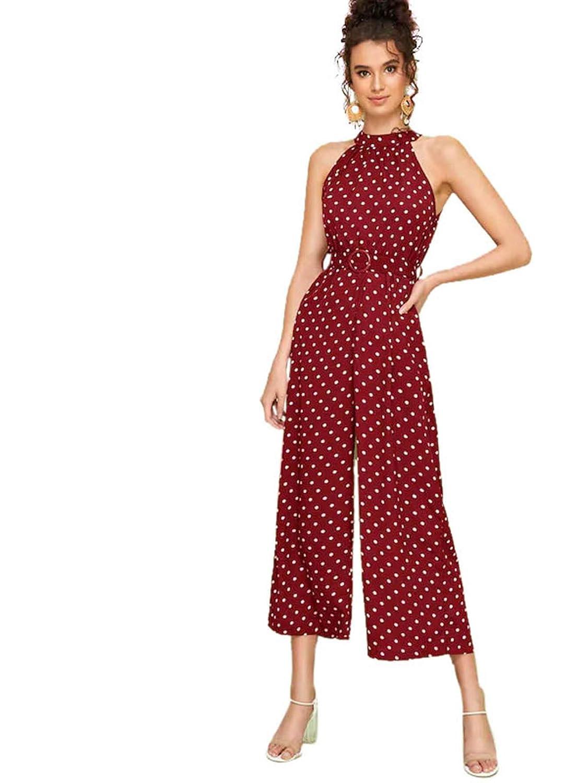 Milumia Women High Waist Belted Halter Polka Dot Vintage Elegant Jumpsuits
