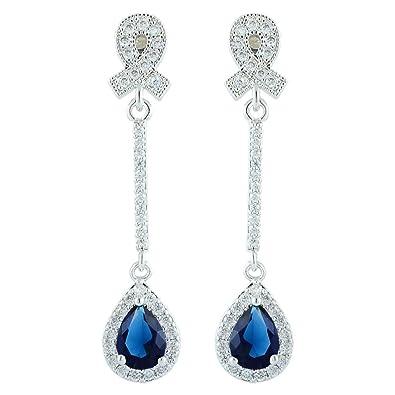 bd77bf72c20f  RIZILIA LÁGRIMA  Pendientes largos Piercing Aretes con Corte de Pera  Piedras Preciosas Circonita CZ  Zafiro Azul  en 18K Chapado en oro blanco
