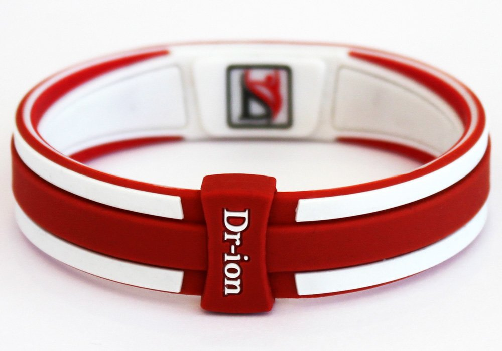 Dr-ion Negative Ion Performance/Power Wristband of Double-Tone Design (Orange Red/White/Red) (M, Orange Red/White/Red) by Dr-ion (Image #2)