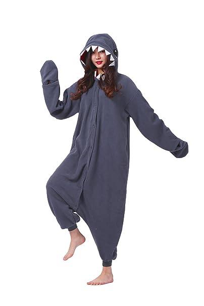 DarkCom Adulto Mamelucos Mujeres Pijamas Sleepsuit Esponjoso Disfraces De Halloween Traje Negro Tiburón: Amazon.es: Ropa y accesorios