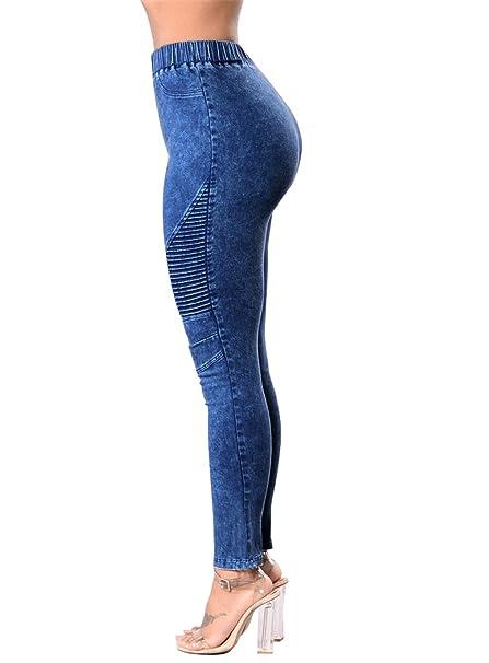 Tenxin Vaqueros Jeans push up Vaqueros Elasticos Mujer ...