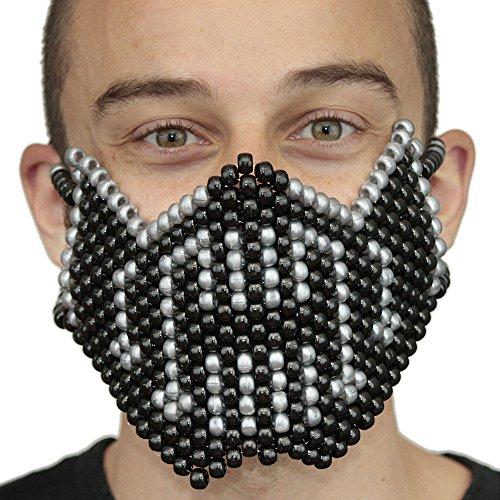"""Masque Kandi """"Bane Batman Argenté"""" complet - Kandi Gear, masque pour rave party, masque pour Halloween, masque de perle pour festivals de musique et fêtes"""