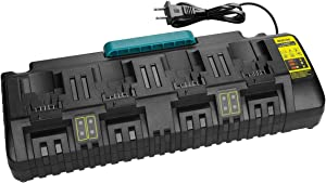 Powilling 4-Ports Fast Charger for Dewalt 12V 20V Max Li-ion Batteries DCB205-2 DCB204 DCB127 DCB609 Replace Dewalt Battery Charger DCB102 DCB102BP DCB104 DCB118 DCB115 DCB107