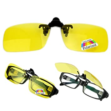 a0894d4c8ed Imported Polarized Yellow Clip On Sunglasses Flip up Driving  Amazon.in   Car   Motorbike