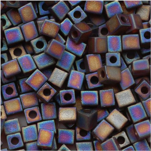 Miyuki 4mm Glass Cube Beads Transparent Frosted Dk Topaz AB #134FR 10 - 4mm Beads Cube Glass