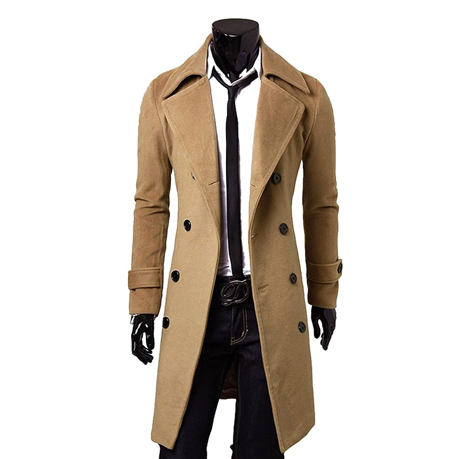 Highdas Mens Trench Coat Double-Breasted Slim Trench Coat
