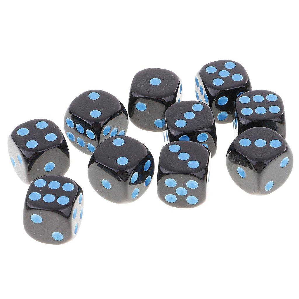 10er-Set #2 Gazechimp Sechsseitige D6 W/ürfel Blau Schwarz