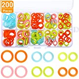 #9: Blulu 200 Pieces Knitting Marker Rings Stitch Rings Markers Crochet Locking Plastic Storage Box, 3 Sizes, Assorted Colors