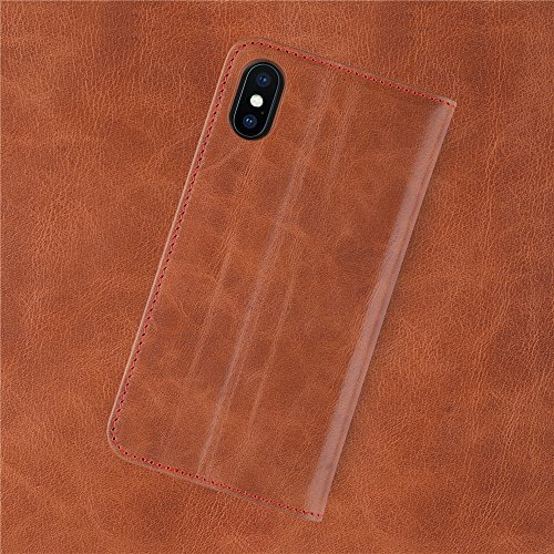 iATO iPhone X Genuine Leather Case Premium Protective Wallet Real Cowhide Cover. Unique Stylish Classy Folio Flip Book Type Accessory Saddle Brown Cover for iPhone X / 10 [Supports Wireless Charging]