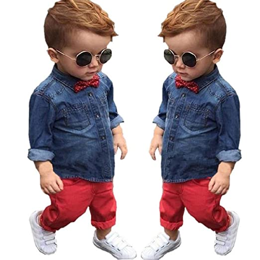 Clearance Toddler Boys Kids Fashion Long Sleeve Bow Tie Denim Shirts Pants Outfits  Clothes Set ( 94e50d356ae7