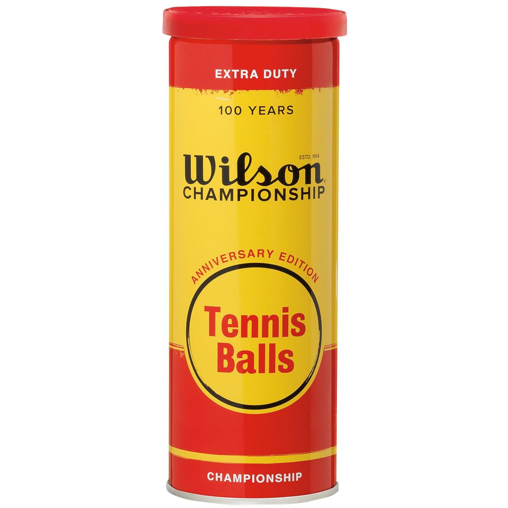 Wilson Championship 100年記念editiontennis Balls with Metal Can andホワイトフェルト B00K5Y2GE4