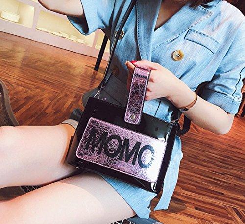 mujeres Shiny bolso portátil hadas Face del Vintage Verano de de mensajero hombro de letras bolsa bolsa de las de la partido Black manera bolsa PEqxwSfFq