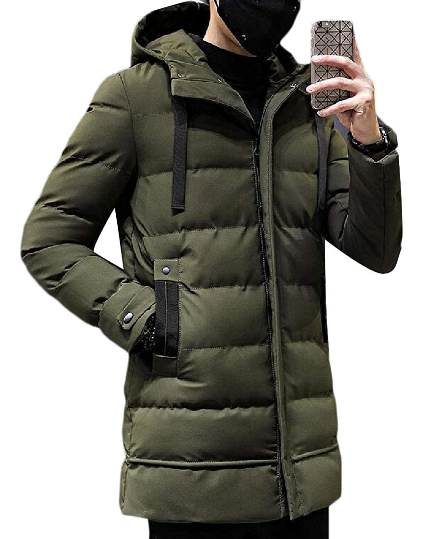 XQS Mens Warm Winter Hooded Long Sleeve Quilted Winter Coats Jacket