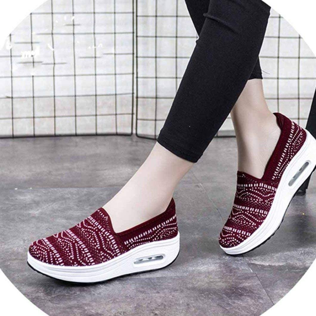 Femmes Appartements Mode Plate-Forme été Slip on Sneakers Dames Respirant Mesh Chaussures de Sport Mocassins Mous Vin Rouge