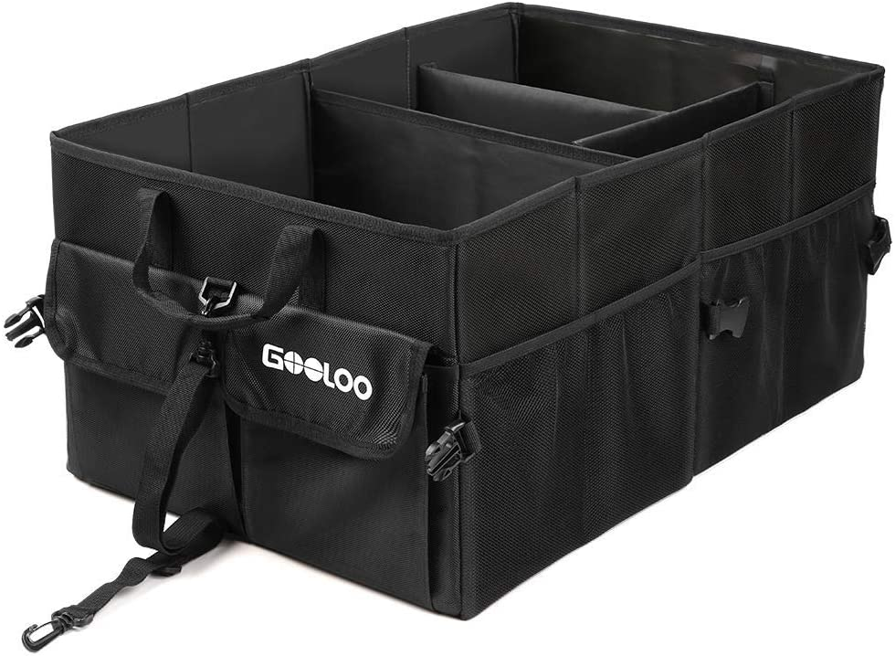 GOOLOO Car Trunk Organizer Auto Cargo Storage Container Multi-compartments Collapsible Durable Box with Straps, Waterproof Bottom for Truck, SUV, Minivan, Jeep