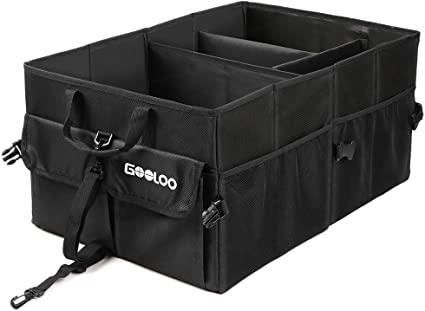 duradero GOOLOO Bolsa para maletero del coche con ganchos antideslizantes 1680D para coche y todoterreno plegable resistente al agua organizador de maletero antideslizante