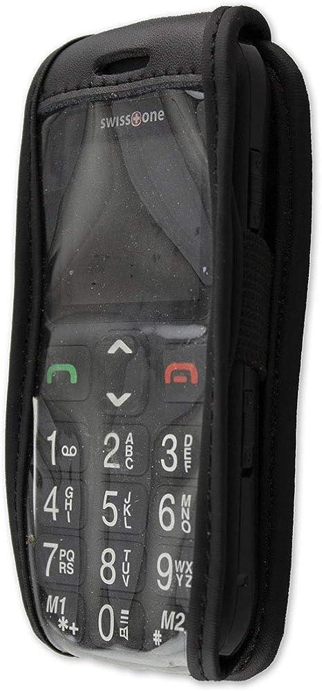 Caseroxx Hülle Ledertasche Mit Gürtelclip Für Swisstone Bbm 320c Aus Echtleder Tasche Mit Gürtelclip Und Sichtfenster In Schwarz Elektronik