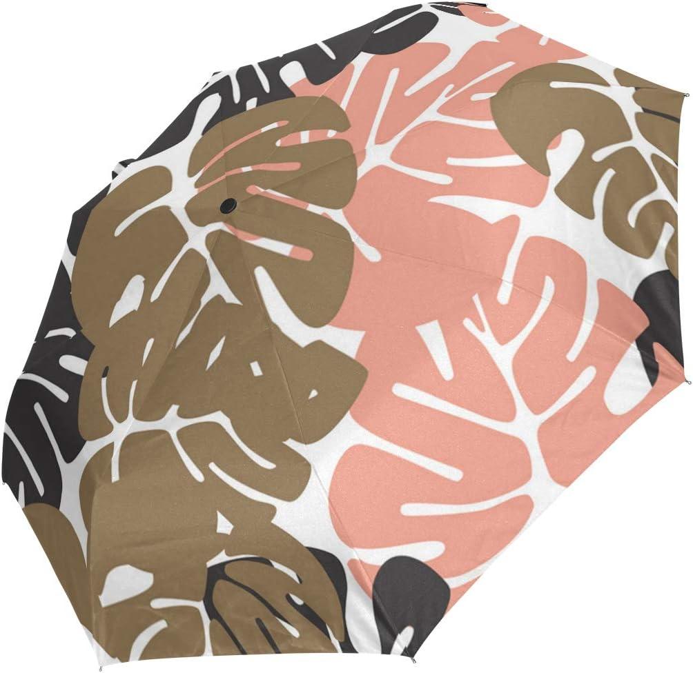 Summer Tropical Leaves Garland fashion print cute Windproof automatic tri-fold umbrella sun UV protection Sun umbrella