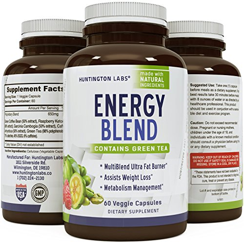 Extra Strength Energy Blend Appetite Suppressant / Fat Burner Made With Best Garcinia Cambogia HCA + Raspberry Ketones + Green Coffee Bean Extract + Green Tea Extract - Rapid Weight Loss Pills