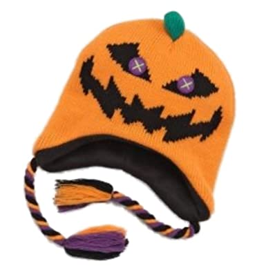 fb8b37eb1e2992 Image Unavailable. Image not available for. Color: My Halloween Girls Orange  Pumpkin Trapper Hat Scary Knit Peruvian Winter Cap