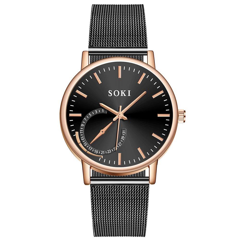 Cinnamou - Reloj de Pulsera de Acero Inoxidable para Hombre, Esfera Simple de Cuarzo I: Amazon.es: Relojes