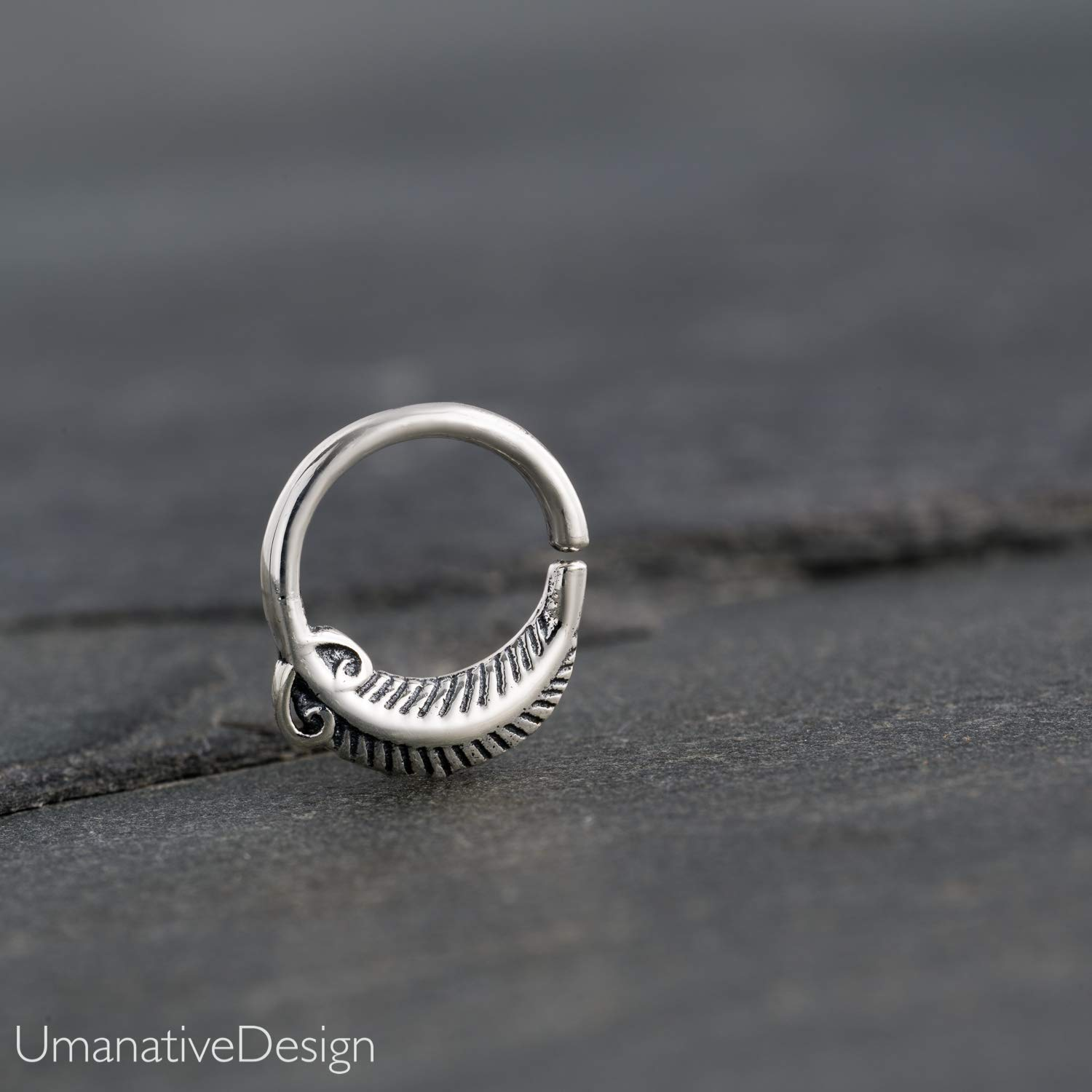 Feather Shaped Earlobes Helix Dainty Sterling Silver Nose Hoop Piercing Earring Unique Handmade Piercing Jewelry Also Fits Tragus 18g Indian Septum Ring