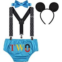 Baby Boy Cake Smash ONE Diaper Nappy Cover Suspenders Bowtie Mouse Ear Headband First Birthday Party Photography Prop
