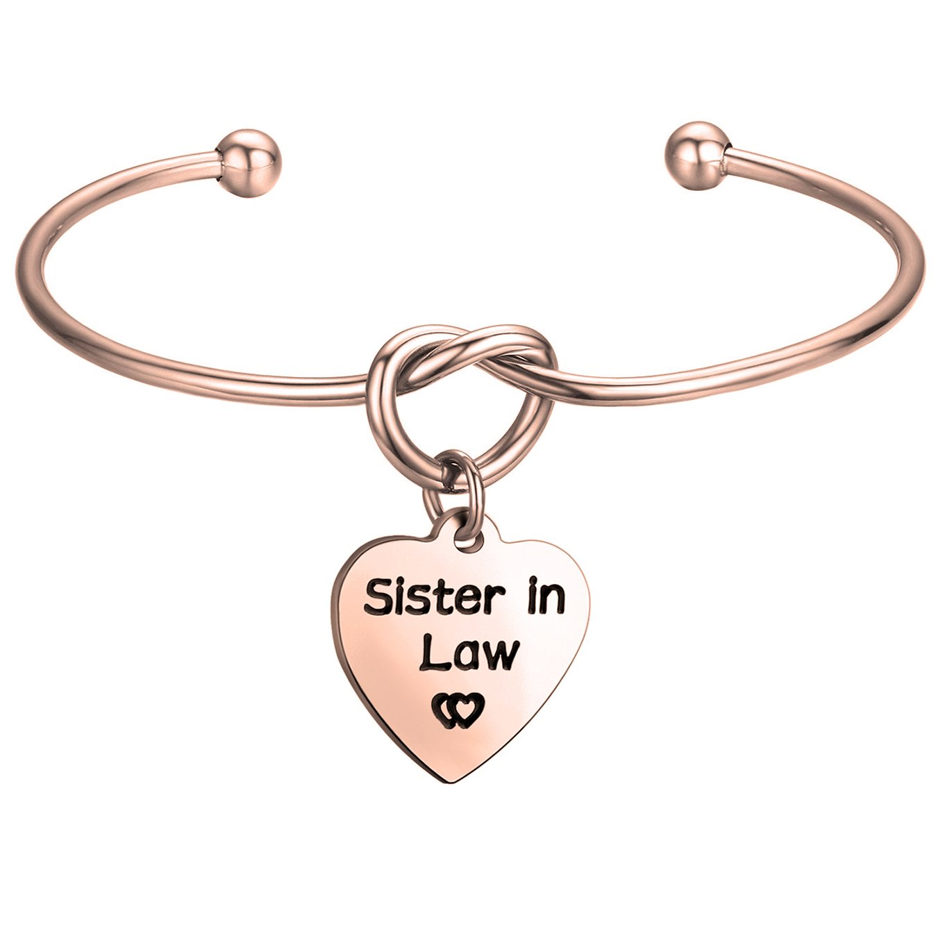 FEELMEM Sister in Law Gift Sister in Law Bracelet-Simple Love Knot with Heart-Shaped Charm Bangle Bracelet-Sister of The Groom Gift-Maid of Honor Gift-Wedding Jewelry(Heart Charm-Rose Gold)