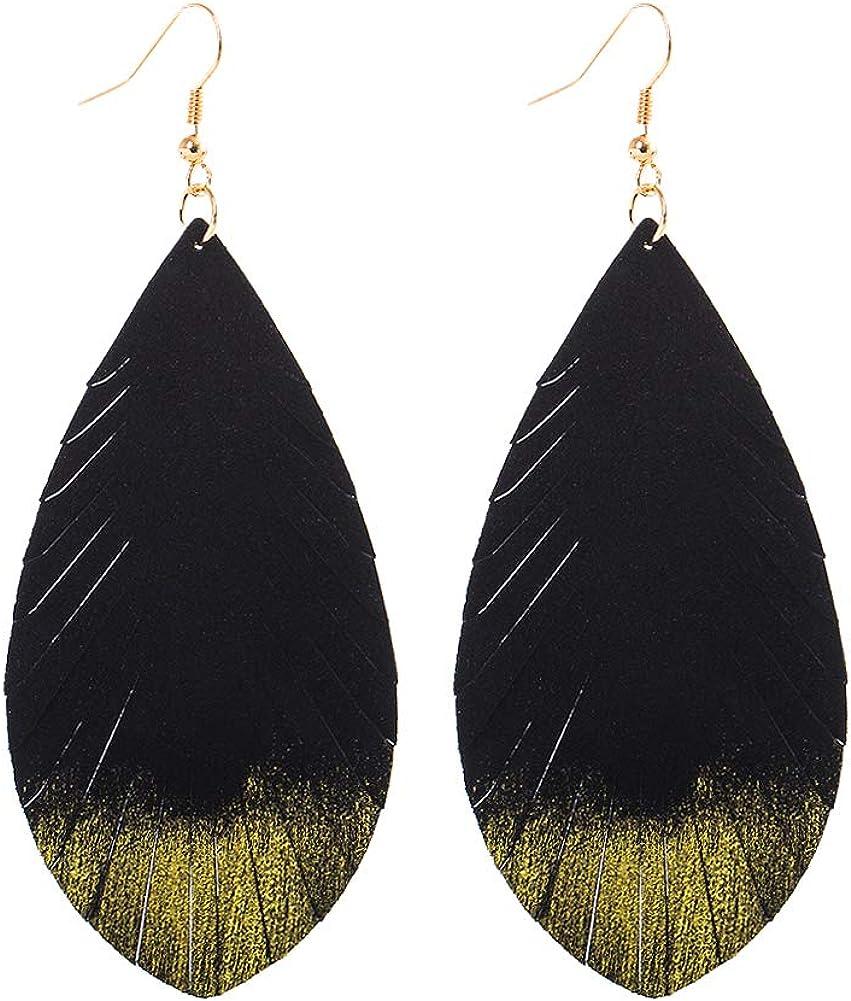 Chic Women Lady Pink Teardrop Leather Earrings Ear Stud Hook Drop Dangle Jewelry