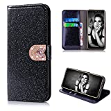 Cistor Bling Wallet Case for Samsung Galaxy A8 Plus 2018,Luxury Black Diamond Love Heart Magnetic Closure Case,Shockproof PU Leather Case with Card Slot for Samsung Galaxy A8 Plus 2018