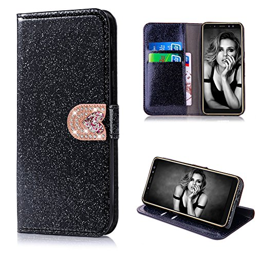 Cistor Bling Wallet Case for Samsung Galaxy A8 Plus 2018,Luxury Black Diamond Love Heart Magnetic Closure Case,Shockproof PU Leather Case with Card Slot for Samsung Galaxy A8 Plus 2018 by Cistor
