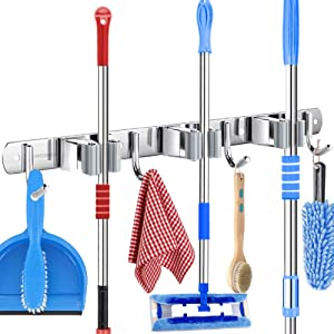 URGENEX Broom Mop Holder Wall Mount 17 inch Stainless Steel Heavy Duty Hanger Tools with 3 Racks 4 Hooks for Bathroom, Kitchen, Office, Closet and Garden Screw or Adhesive Installation