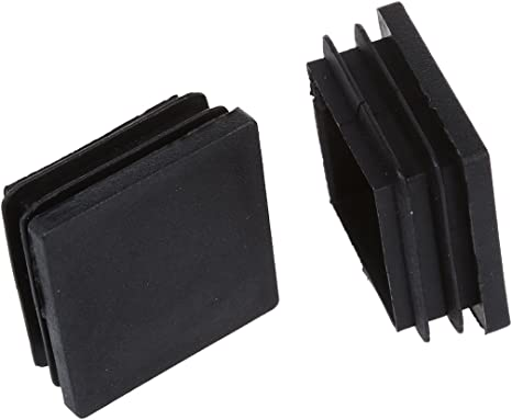 Globalflashdeal 10 Pezzi 40 mm x 40mm Cappucci Neri Quadrato di plastica Tubo Inserti