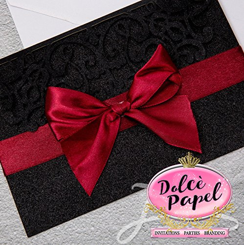 25 Gorgeous BLACK Glitter Laser Cut Wrap Intricate Lace Pocket Elegant Invitations Set by Dolce Papel Invitations