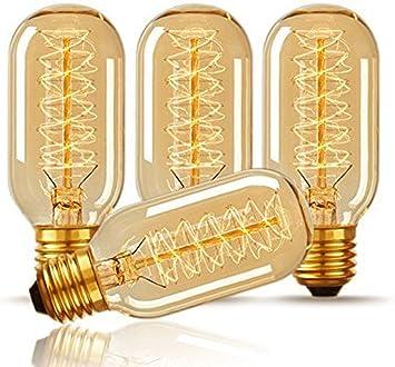 Ctkcom T45 25 Watt Vintage Antique Light Bulbs E26 Base 4 Pack Antique Dimmable Incandescent Bulb Spiral Tungsten Equivalent Warm Yellow Lamps For Home Light Fixtures Decorative 110v 130v