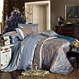 Set of 4 Cotton Satin Jacquard Duvet Cover Bedding Set Queen/King For Adult Kids Teen Dorm Quilt Cover(220Cm×240Cm×1),Sheet(260Cm×245Cm×1),Pillowcases(48×74Cm×2) Wedding Thanksgiving Christmas Gift