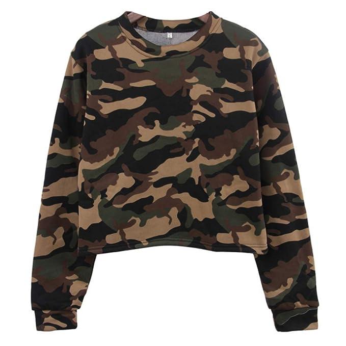 d7d5132e8d15 Aiweijia 8 Pcs Camouflage Jogger Running Sweatshirt Pullover Top ...
