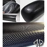4D Black Carbon Fiber Vinyl Wrap Sticker Air Realease Bubble Free anti-wrinkle 120