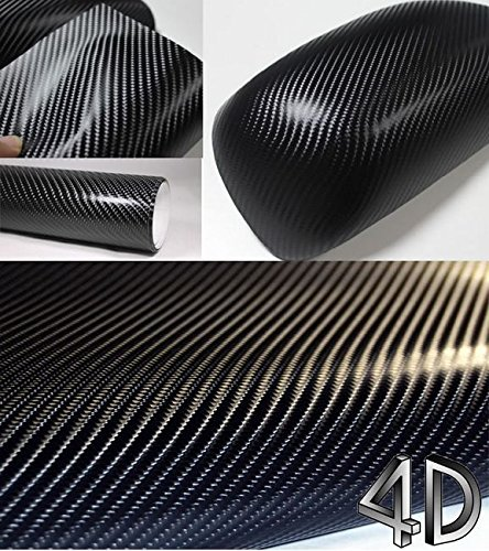 10' Sticker - 4D Black Carbon Fiber Vinyl Wrap Sticker Air Realease Bubble Free anti-wrinkle 120