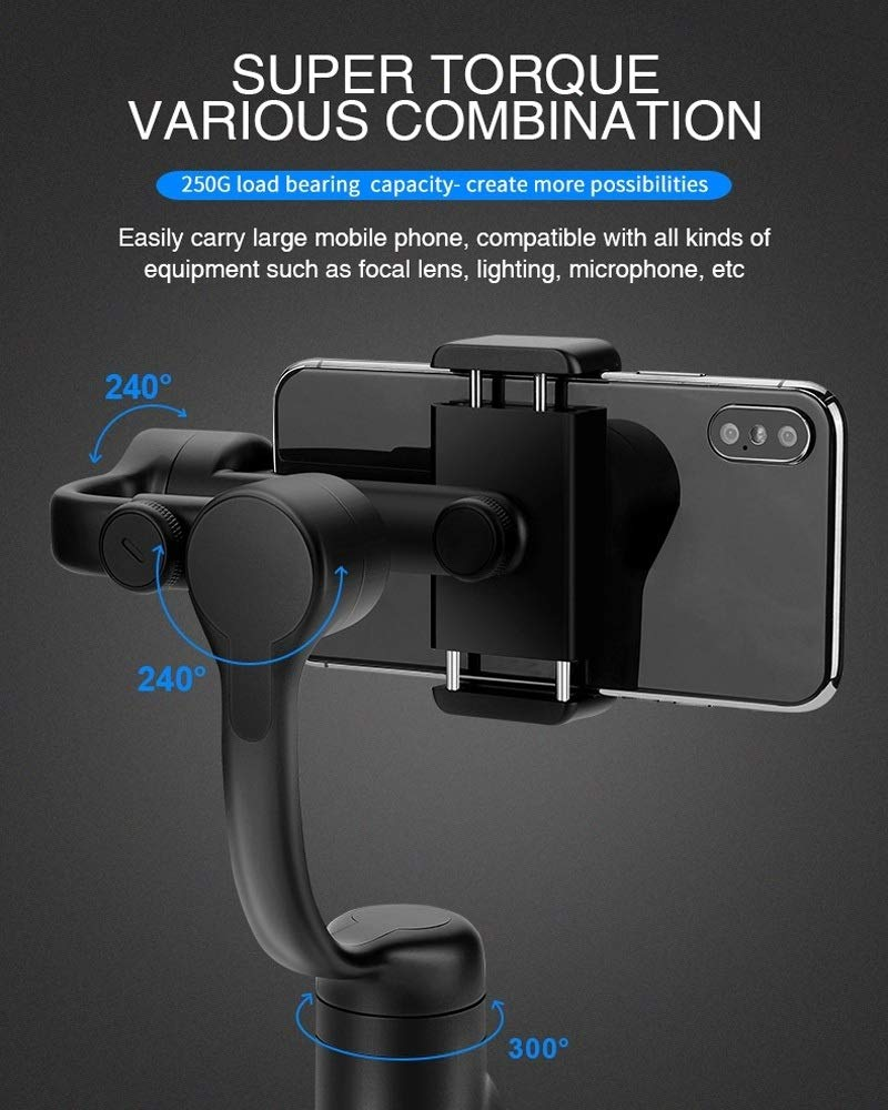 Camera Accessories Zhizhuo S1 3-Axis Stabilized Plastic Handheld Gimbal Stabilizer for Smartphones(Black) (Color : Black, Size : One Size) by LUQIN