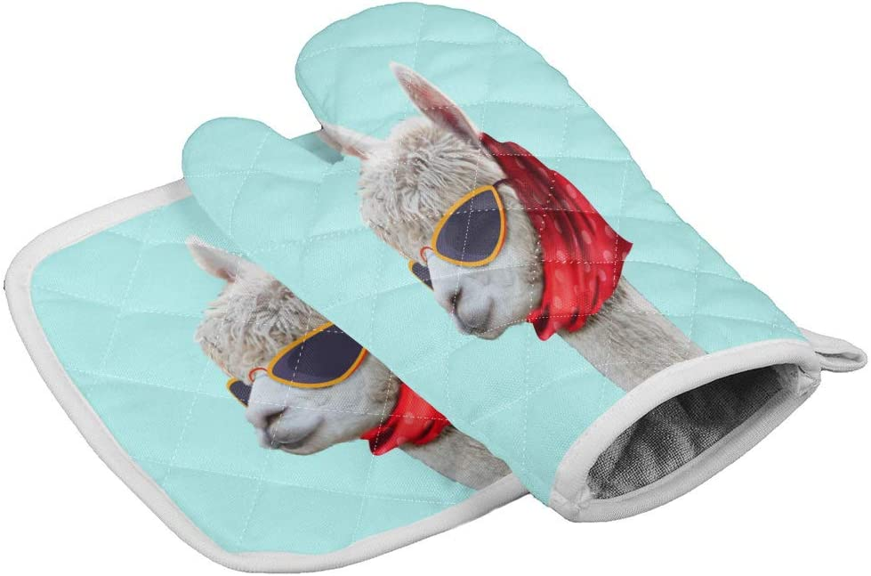 Oven Mitts Insulated Kitchen Glove with Heat Resistant Square Pad, Funny Alpaca with Red Scarf Art Print, Cooking Gloves for BBQ/Picnic/Home/Indoor Use