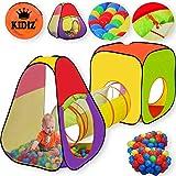 KIDIZ® Spielzelt +Tunnel + 200 Bälle + Tasche Kinderzelt Bällebad Spielhaus Babyzelt, Größe:XL